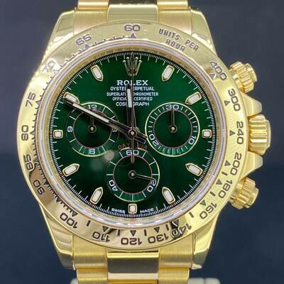 Rolex Daytona Chronograph 40MM Green Dial 18K Yellow Gold B&P2019 LC130 Very Good Condition