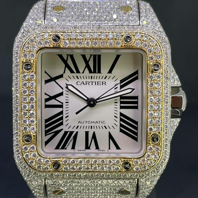 Cartier Santos 100 XL 18K Gold/Steel Full Custom Honeycomb Diamonds Set ICED OUT | B&P2013