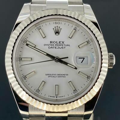 Rolex Datejust 41MM Steel/White Gold White Stick Dial Oyster Bracelet B&P2021 Unworn