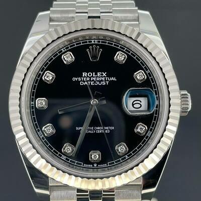 Rolex Datejust II 41MM Steel/White Gold Bezel Black Diamond Dial B&P2020 Perfect Condition