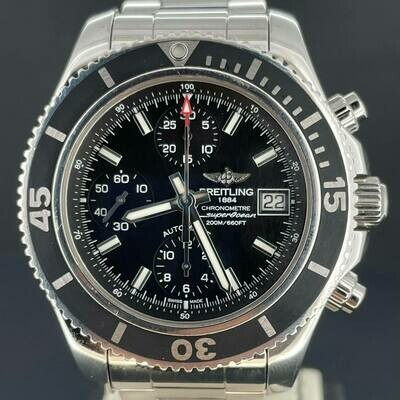 Breitling Superocean Chronograph 42MM Black Dial & Bezel Steel Watch Box and Papers Mint Condition