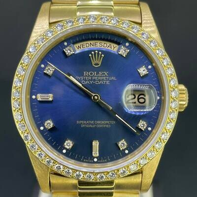 Rolex Day-Date President Yellow Gold 36MM Blue Diamond Baguette Dial Bezel Aftermarket -Like New
