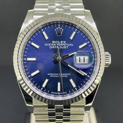 Rolex Datejust 36MM White Gold Bezel/Steel Blue Stick Dial Jubilee Fluted B&P2021 Unworn