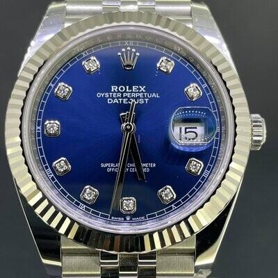 Rolex Datejust II 41MM Blue Diamond Dial White Gold Steel Jubilee B&P2018 Mint