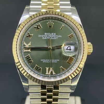 Rolex Datejust 36MM Steel/Rose Gold Grey Diamond Dial 6-9 Jubilee Fullset B&P2021 New Unworn