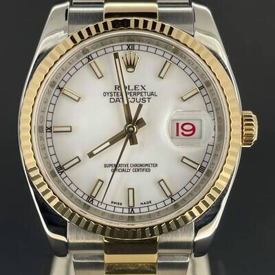 Rolex Datejust 36MM 18K Yellow Gold/Steel White Stick Dial Fluted B&P2011 Very Good Condition