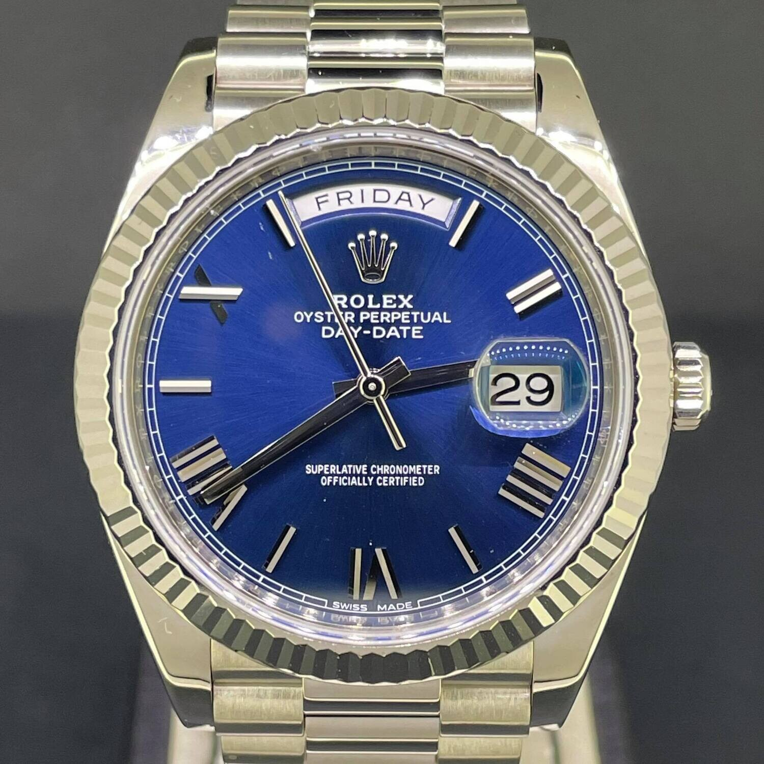 Rolex Day-Date 40MM 18K White Gold Blue Roman Dial B&P2016 Fullset PERFECT Condition