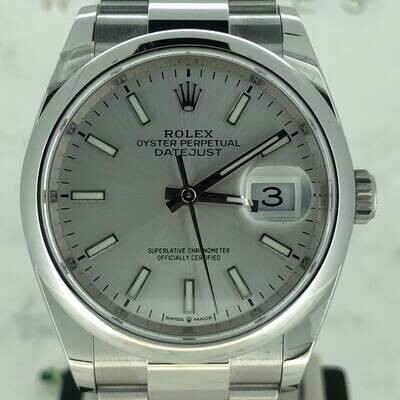 Rolex Datejust 36MM Steel Smooth Oyster Bracelet Silver Stick Dial B&P2021