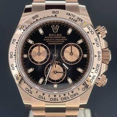 Rolex Daytona Chronograph 40MM Rose Gold 18K Black Dial B&P2021