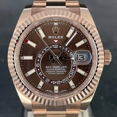 Rolex Sky-Dweller 18K Rose Gold 42MM Chocolate Stick Dial (Brown) B&P2021/06 Novelty Unworn
