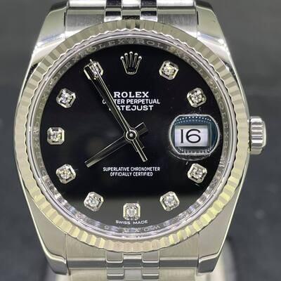 Rolex Datejust 36MM Steel/White Gold Bezel Black Diamond Dial B&P2015 MINT Condition