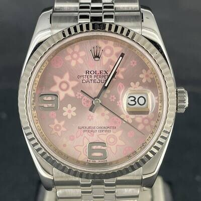 Rolex Datejust 36MM Pink Florale Dial (Rare) White Gold Bezel/Steel Jubilee Fluted B&P2008