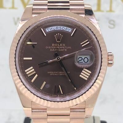 Rolex Day-Date 40MM 18K Rose Gold Chocolate Brown Roman Dial Novelty B&P2021 Unworn