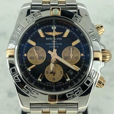 Breitling Chronomat 44MM Rose Gold/Steel B&P 2014 Black Dial Mint Condition Fullset/ Full Links