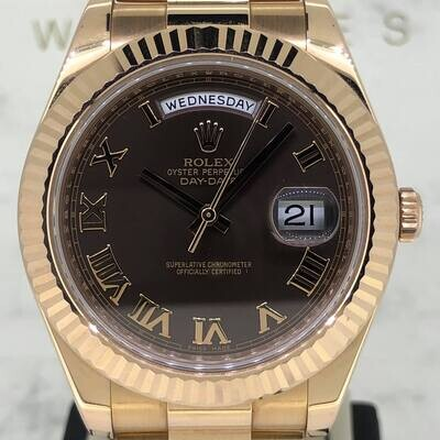 Rolex Day-Date II 41MM 18K Rose Gold Brown Roman Dial B&P2013 Discontinued - Perfect Condition