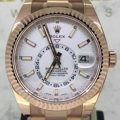 Rolex Sky-Dweller 18K Rose Gold 42MM White Stick Dial B&P2020 Novelty Unworn Full Stickers