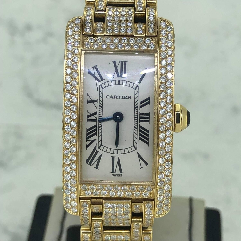 Cartier Tank Americaine Full Yellow Gold | Full ICED Diamonds Setting Aftermarket B&P Top Diamonds