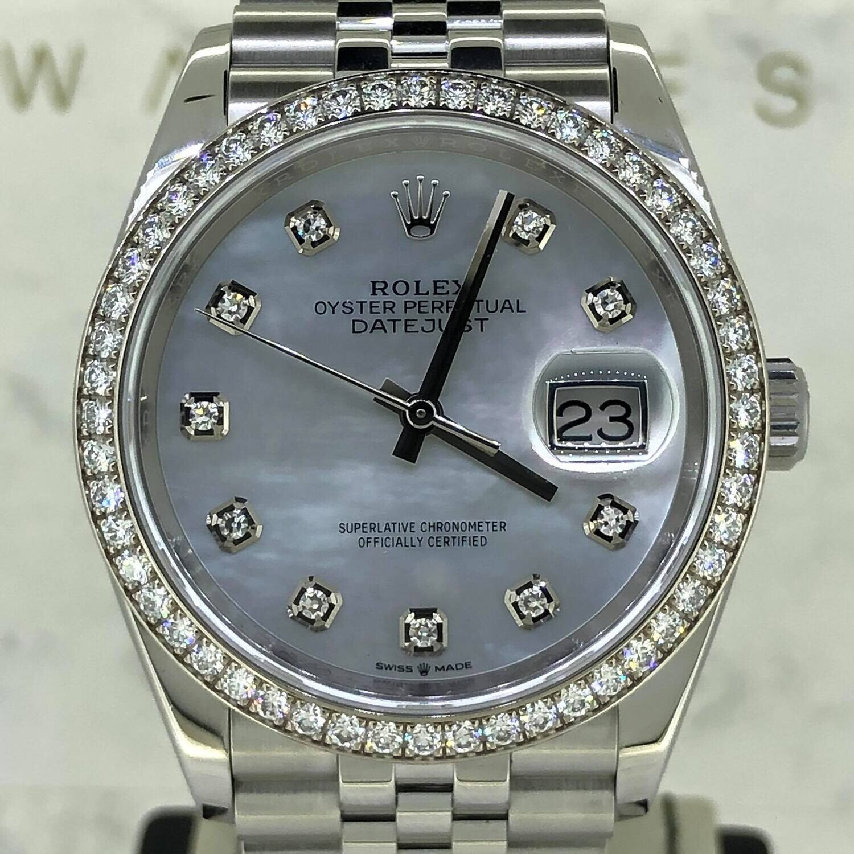 Rolex Datejust 36MM 18K White Gold/Steel Factory Diamond Bezel MOP Diamond Dial B&P2021 - MINT