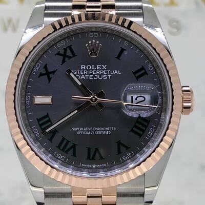 Rolex Datejust 36MM 18K Rose Gold/Steel Grey Wimbledon Dial B&P2021 Novelty Dial
