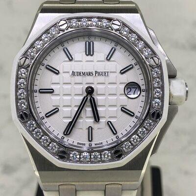 Audemars Piguet Royal Oak Offshore 37MM Steel/White Rubber | Factory Diamonds Bezel | Quartz - Unpolished