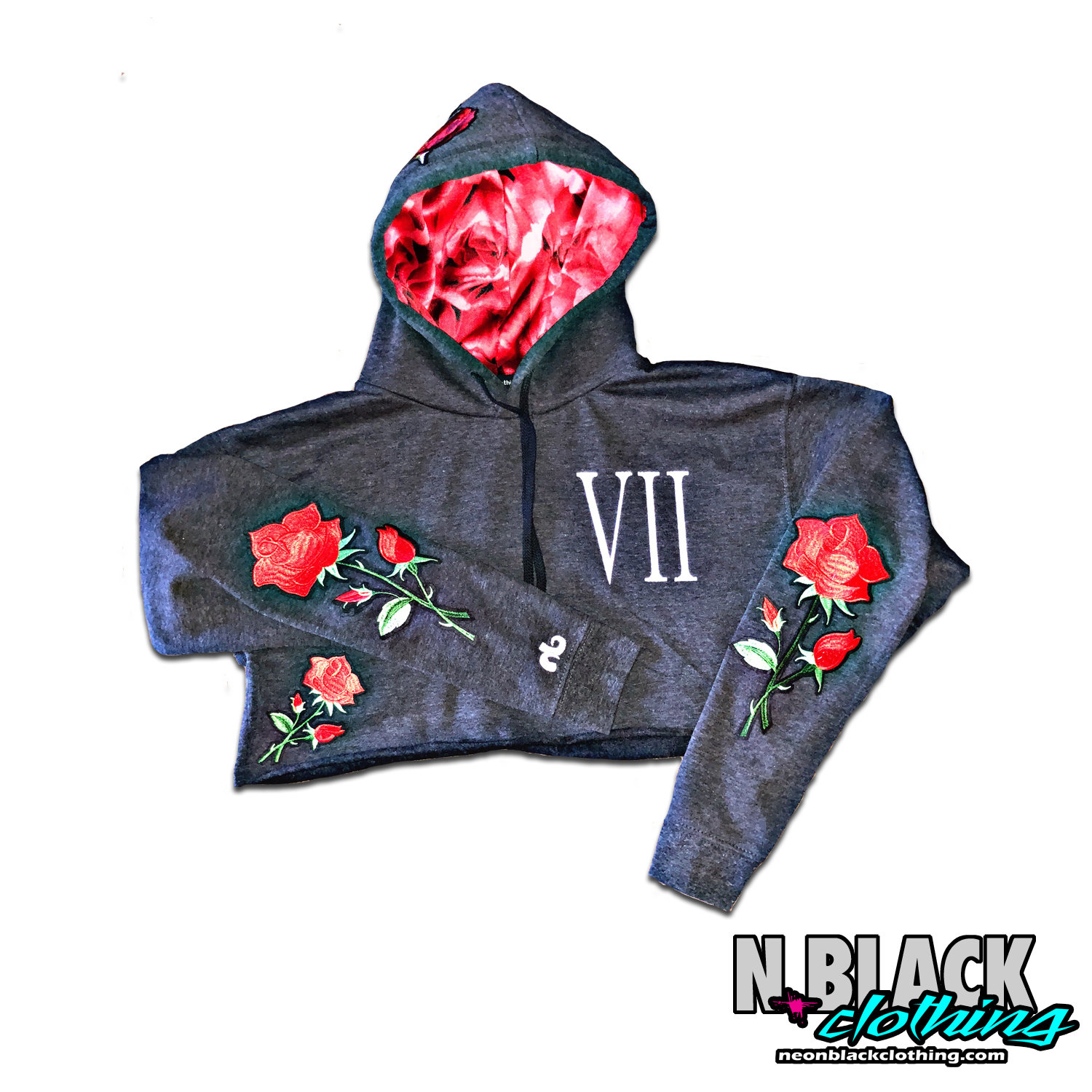 VII Years of Neon - Cropped Charcoal Roses