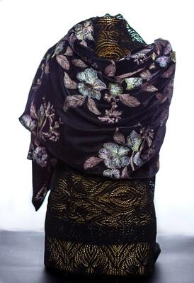 Black Velvet Embroidered Scarf