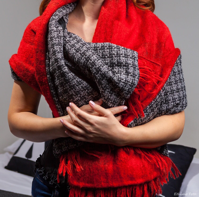 Reversible wool scarf.