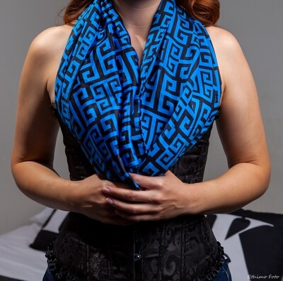Blue with black detail silk scarf