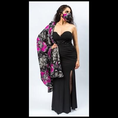 Black and Pink Elegant Wrap
