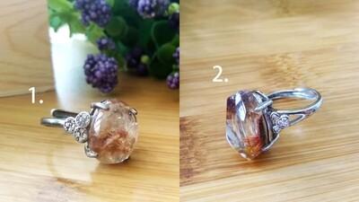 发晶花镀银戒指 Rutilated Quartz Ring