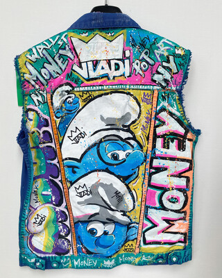 Jeans jacket- SMURF Money-  Size M Unisexe Made In  Art VLADI
