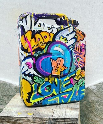 Petrol Can - LOVE Money - 46x45 cm Metal Art Vladi