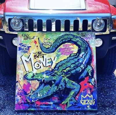 Green MONEY- Masterpiece 100x100x3 cm Original Art VLADI