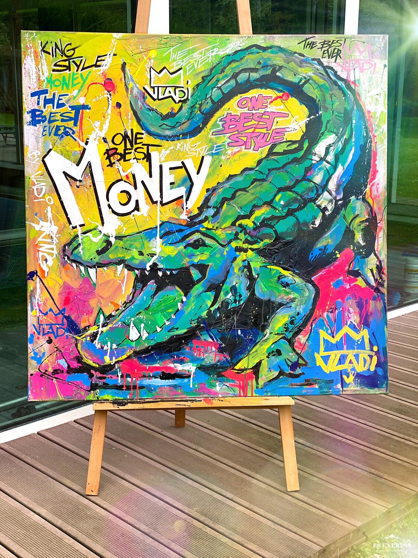 Green MONEY- Masterpiece 100x100x3,5 cm Original Art VLADI