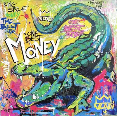Money Crocodile- LIMITED EDITION PRINT 80x80 Art Vladi