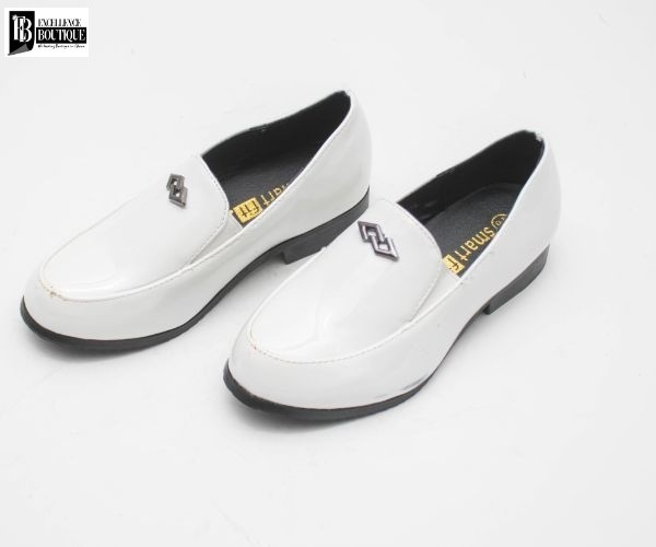 BOYS FORMAL DRESS SHOES - WHITE LOAFERS