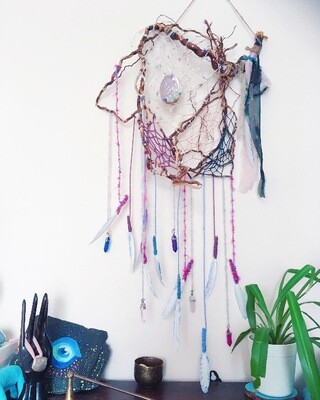 Crystal & abalone dream catcher
