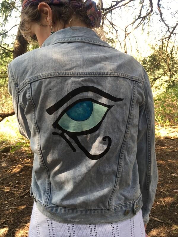Hand-painted eye of horus denim jacket (size small)