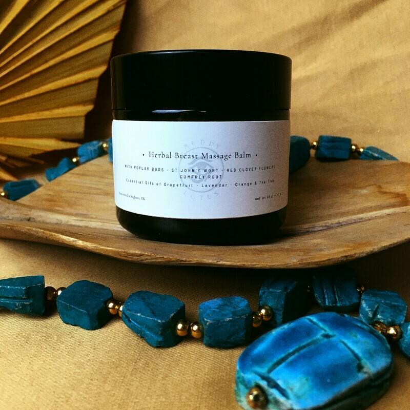 Muddy Lotus Herbal Breast Massage Balm  -  St Johns Wort, Comfrey Root, Red Clover Flowers, Poplar Buds, Lavender, Grapefruit, Orange, Tea Tree Essential oils