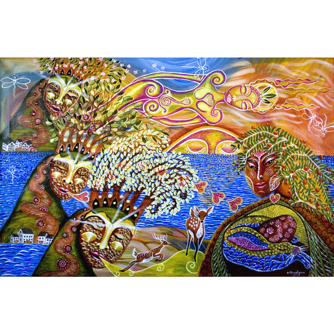 """THE GREEN WOMAN AND THE SINGING HILLS 24""""x36"""""""