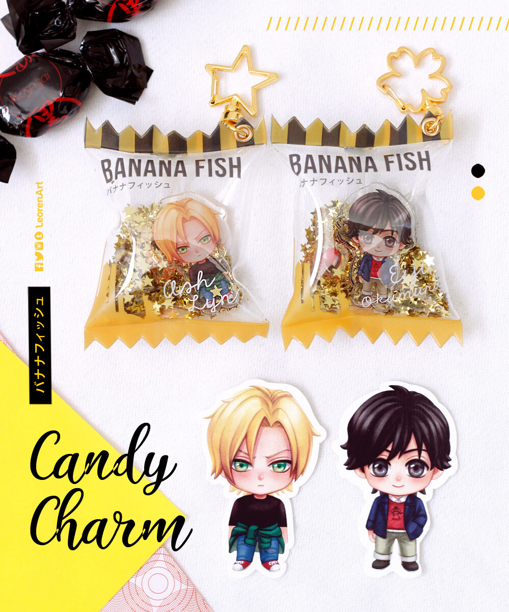 Banana Fish - Ash Lynx + Eiji Okumura - Candy Charm Keychain