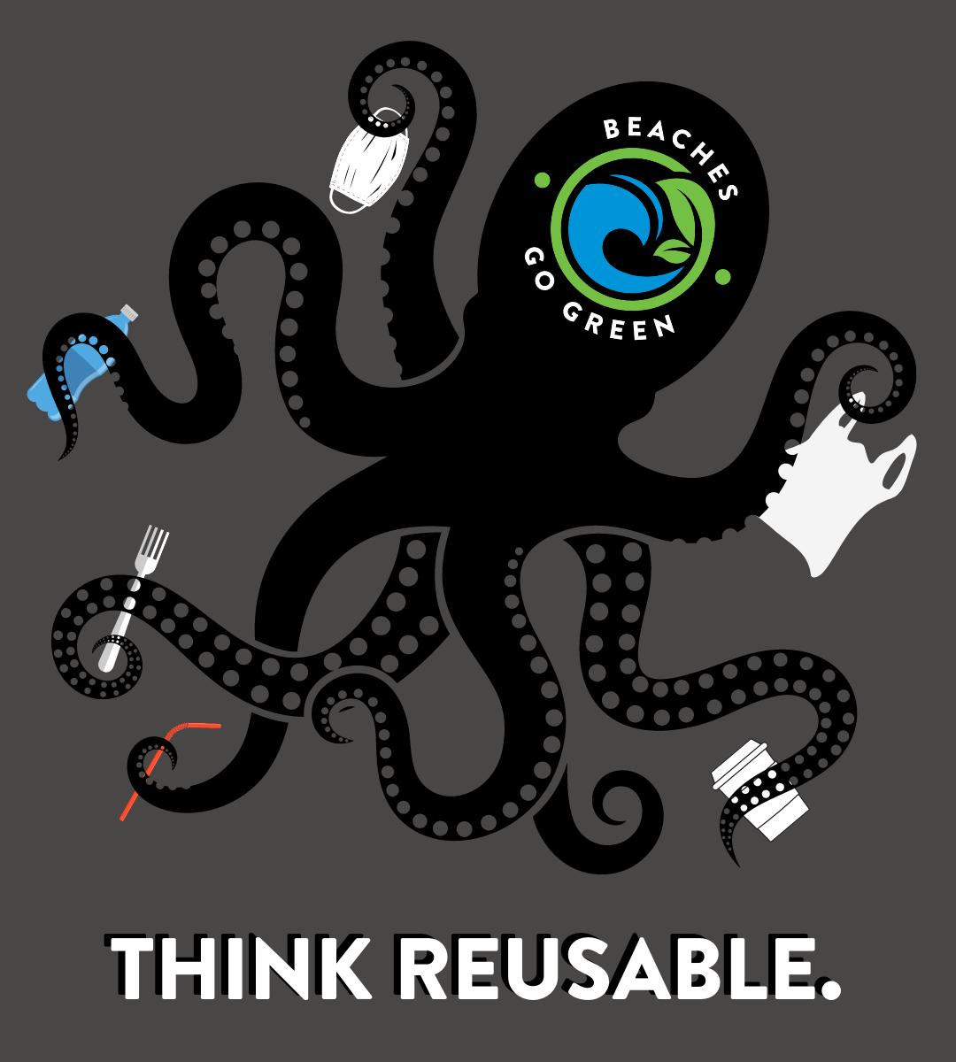 Think REUSABLE Octopus shirt - GREY