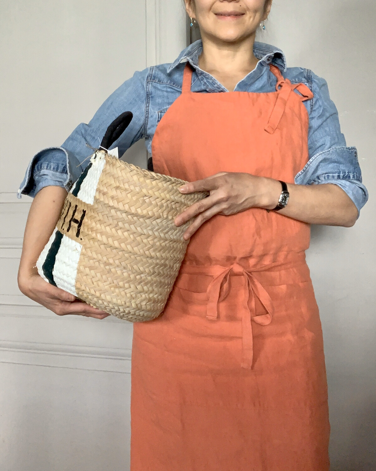Washed Linen Apron / Terracotta (Delivery only in Japan/割引対象)