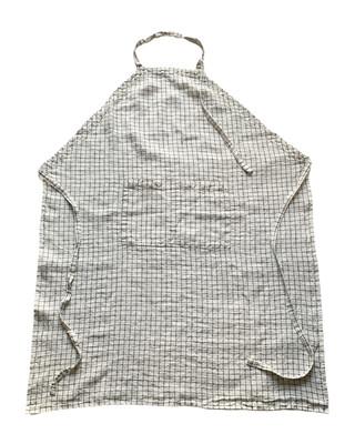 Washed Linen Apron / Check White& Black