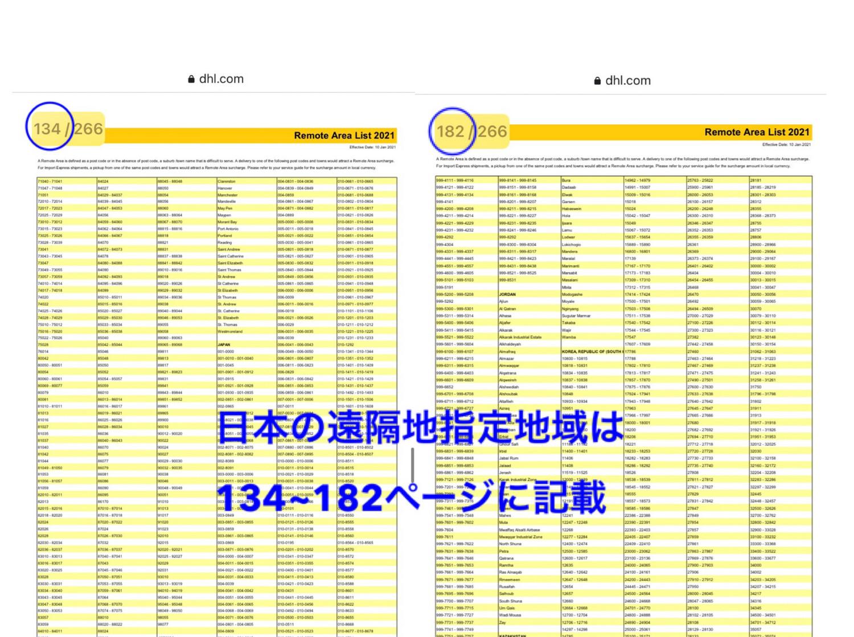 DHL遠隔地指定地域リスト
