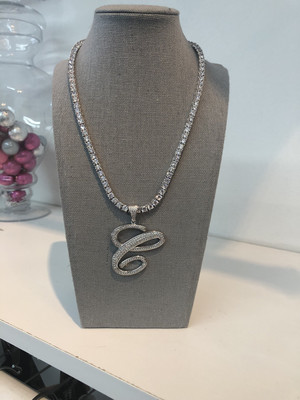 Big Initial Tennis Necklace