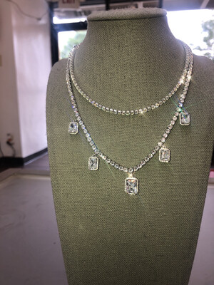 Bling Square Charm Tennis Necklace