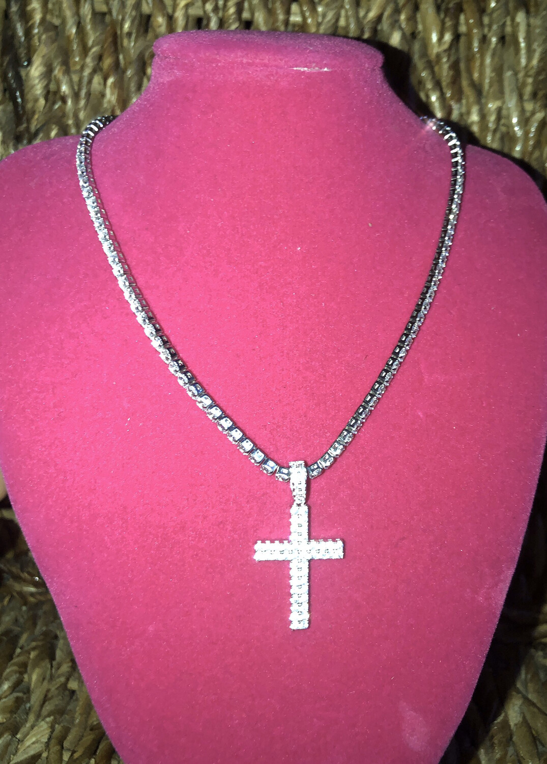 Small Cross Tennis Necklace