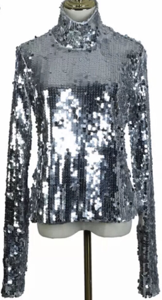 Sequin Turtleneck