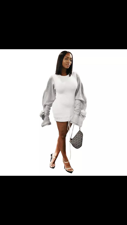 Oversize Ruffle Sleeve Sweater Dress
